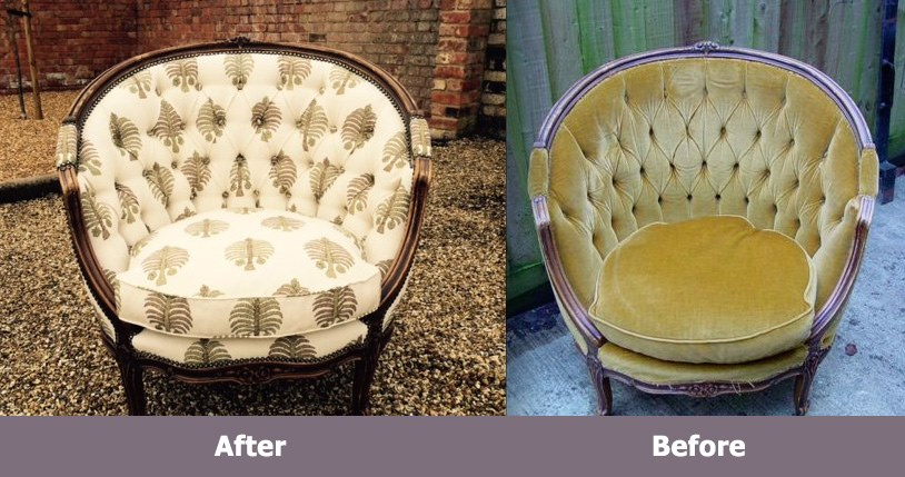 Reupholstery Chair - before & after